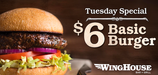 Tuesday Special - $6 basic burger
