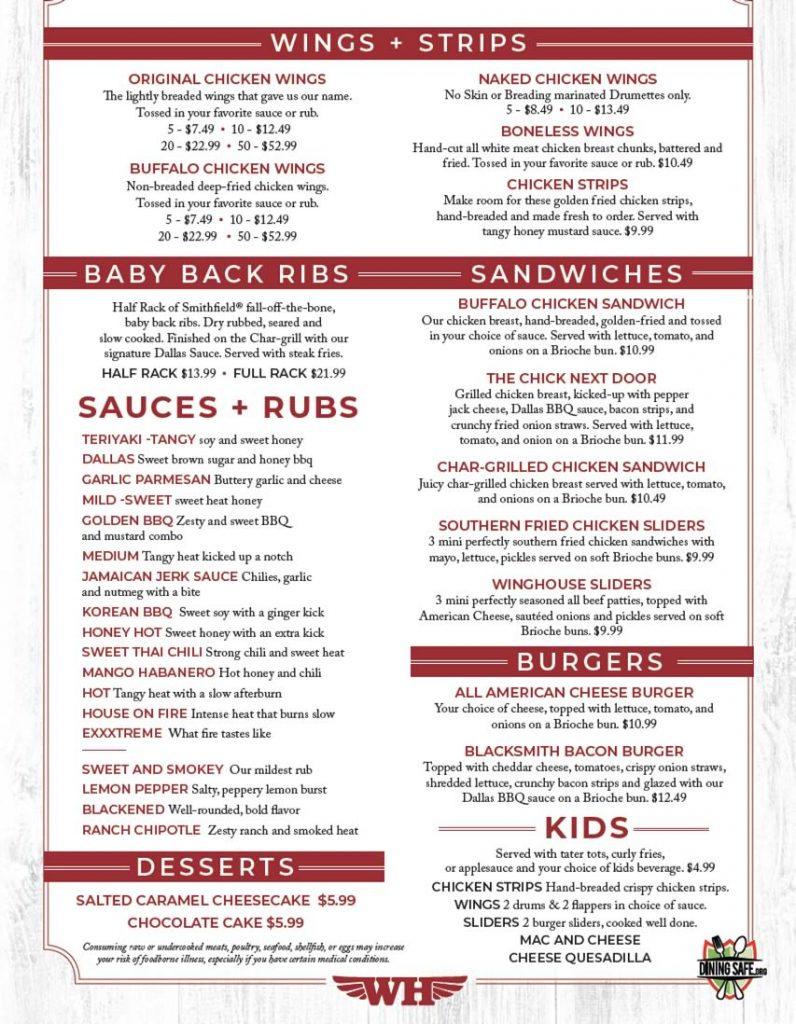 image of winghouse limited menu 2021 page 2